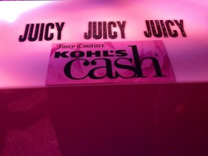 """guests were given """"Juicy cash"""" to redeem at an outside booth for a complimentary item from the new line"""