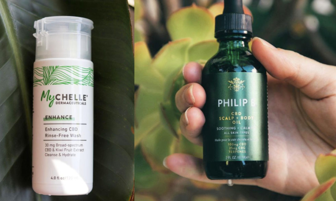 Collage of new CBD beauty products from MyCHELLE Dermaceutical and Philip B