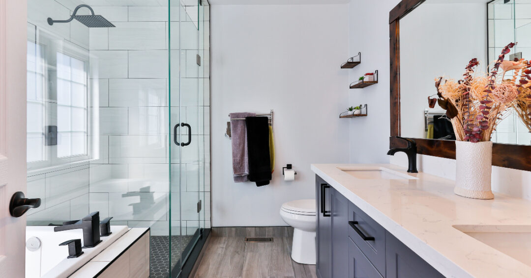 chic white bathroom in a house
