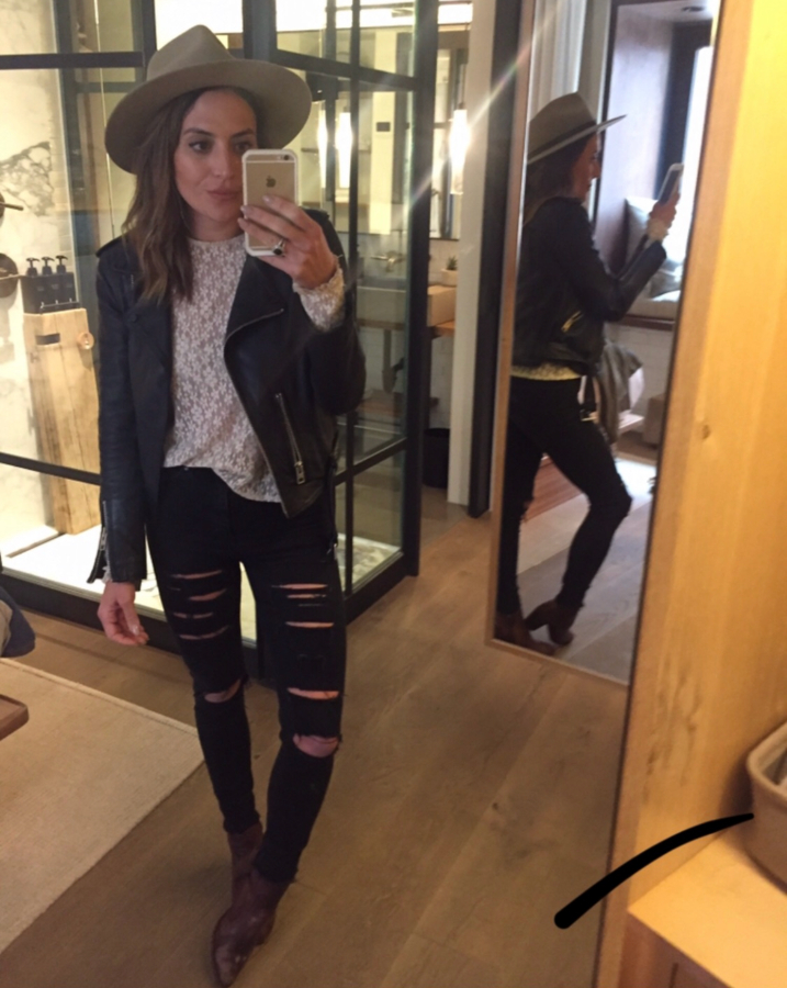 LA stylist Lisette Mora poses in a throwback pair of distressed, black skinny denim